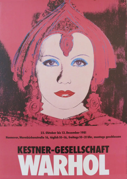 1981 Original Andy Warhol Exhibition Poster, Greta Garbo