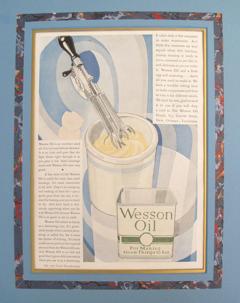 "1920's Vintage American Advertisement - Good Housekeeping magazine - Wesson Oil ""For Making Good Things to Eat"""