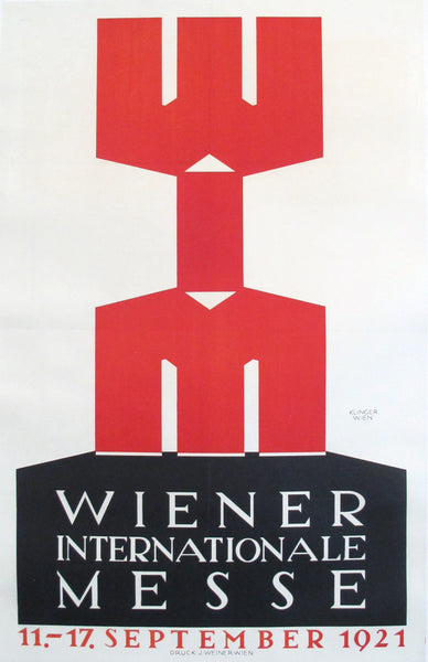 1921 Austrian Art Deco Poster, Wiener Internationale Messe