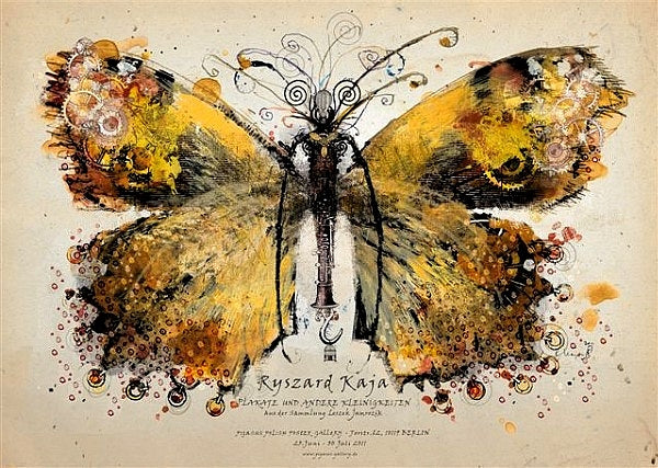 2011 Original Polish Exhibition Poster, Yellow Butterfly