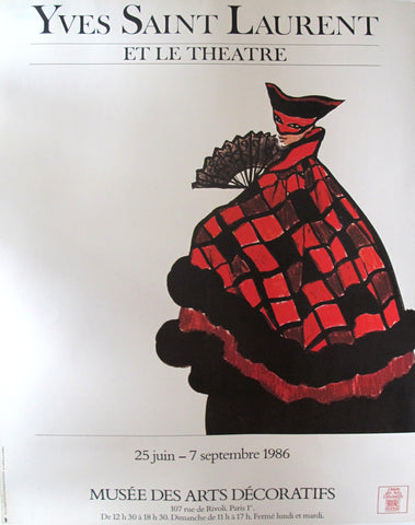 1986 Original Fashion Poster, Yves Saint Laurent et le théâtre - YSL