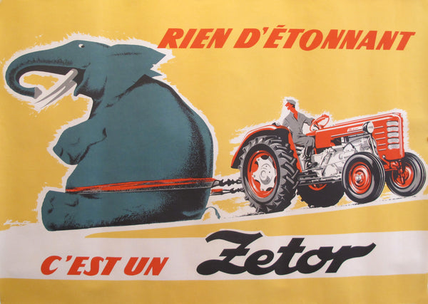 1950-1960's Original Czech advertisement Poster - Zetor tractor