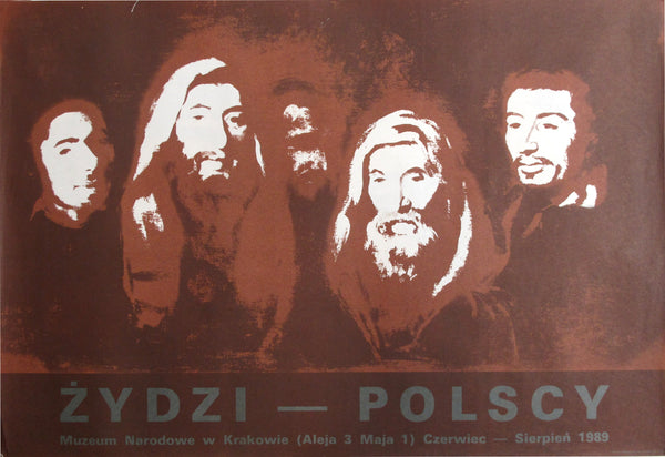 1989 Original Polish Exhibition Poster, Zydzi (Jews) at the Polish National Museum in Krakow