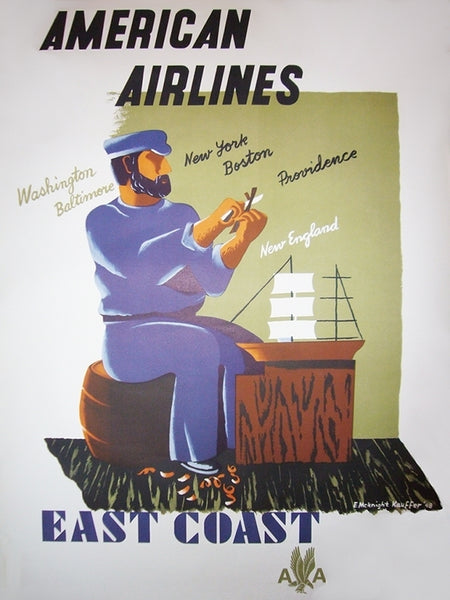 1940s Original American Art Deco Poster, American Airlines East Coast