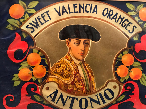 1940's Original Vintage Spanish Fruit Crate Label - Antonio - Sweet Valencia Oranges