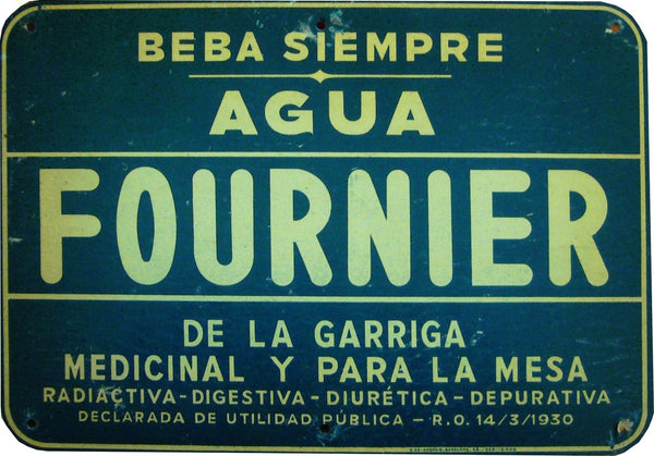 1930 Original Spanish Art Deco Tin, Agua Fournier Ad