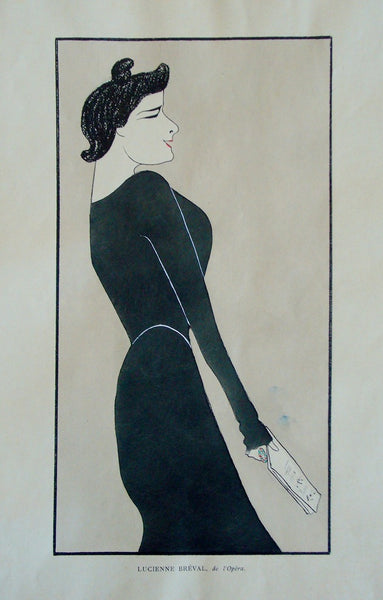 1899 Original Art Nouveau French Pochoir, Nos Actrices, Lucienne Breval - Cappiello