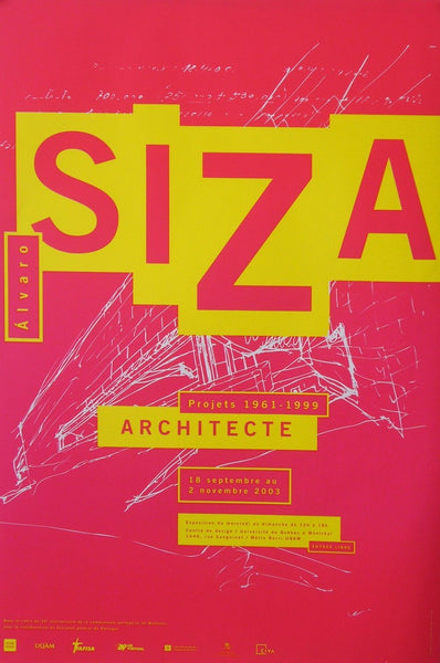 2004 Quebec Contemporary Poster, Centre De Design De L'UQAM, Alvaro Siza Exhibition - Halmai