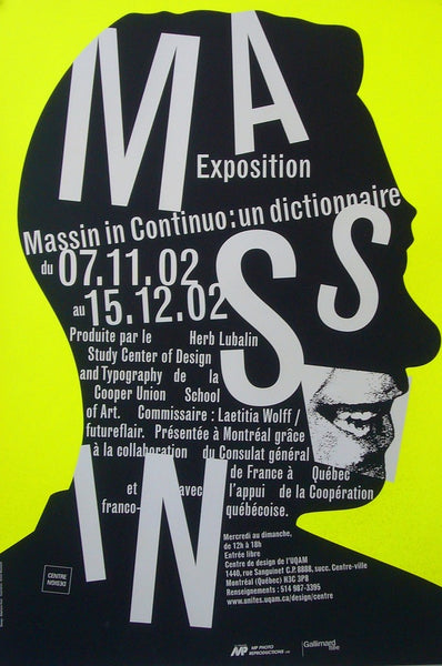 2002 Quebec Contemporary Poster, Centre De Design De L'UQAM, Massin In Continuo Exhibition - Huot