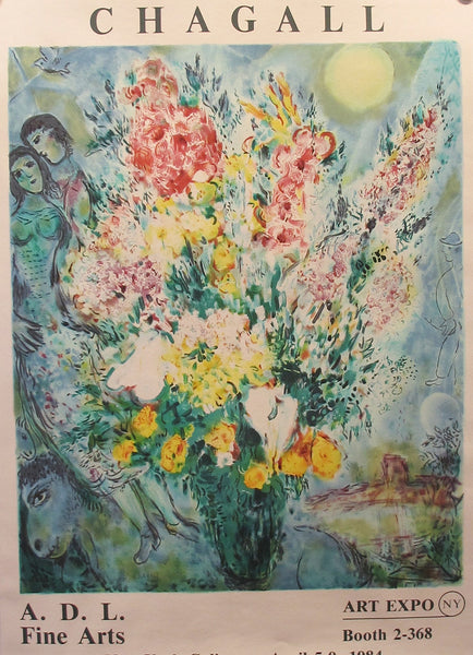 1984 Original Chagall Exhibition Poster, New York Coliseum