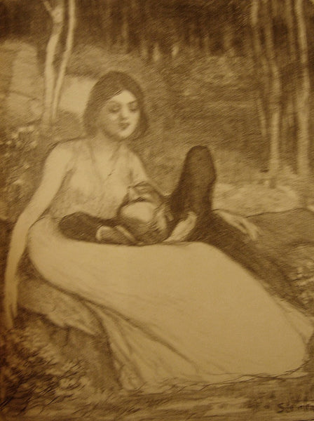 1890s Original French Belle Epoque Illustration, Elle - Steinlen