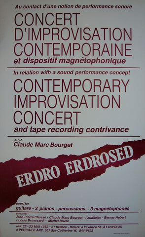 1982 Original Montreal Contemporary Poster, Contemporary Improv Concert