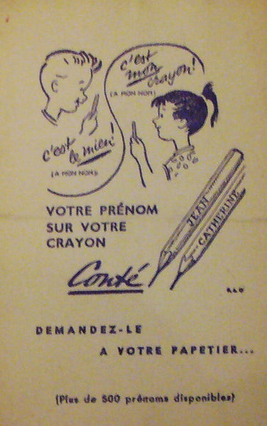 1940s Original French Art Deco Ink Blotter, Crayons Conte
