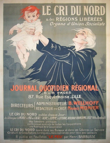1918 Original French Art Nouveau Poster - Cri Du Nord