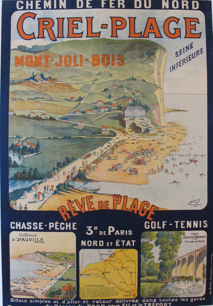 1920s Original French Railway Poster Criel-Plage – Morin