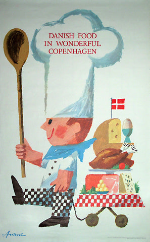 1963 Original Danish Travel Poster, Copenhagen/Food