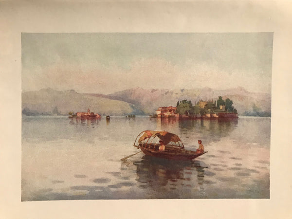 1905 Original Italian Print - Italian Travel Colour Plate - A Summer Evening, Lago Maggiore