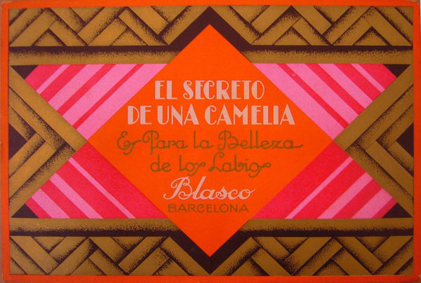 1920 Spanish Art Deco Label, El Secreto De Una Camelia Advertisement