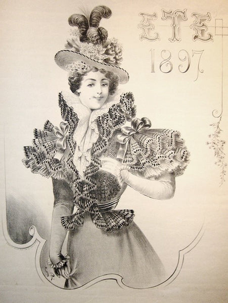 1897 Original French Belle Époque Fashion Poster, Été