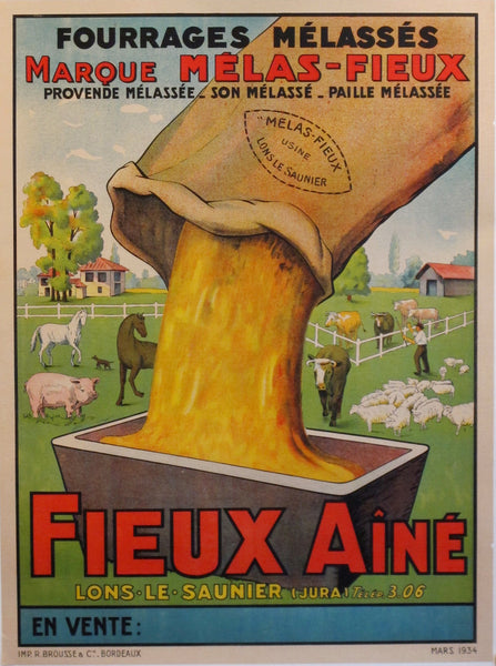 1930s Original French Farm Poster, Fourrages Fieux Aine