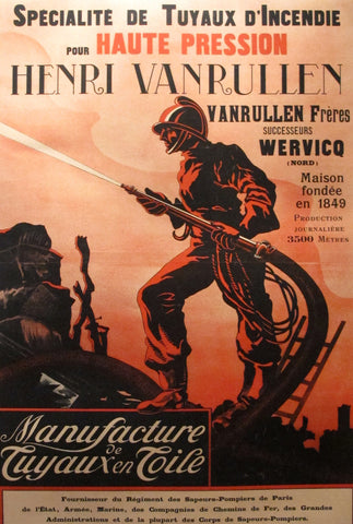 1900 Vintage French Poster, Firehoses - Anonymous