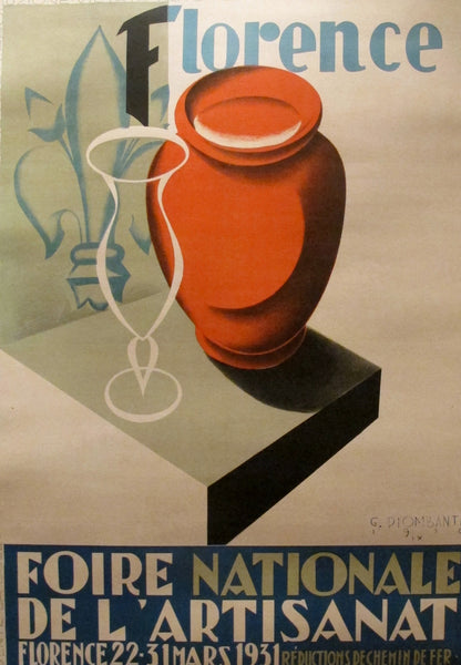 1930 Original Crafts Fair Of Florence Poster, Foire De L'Artisanat