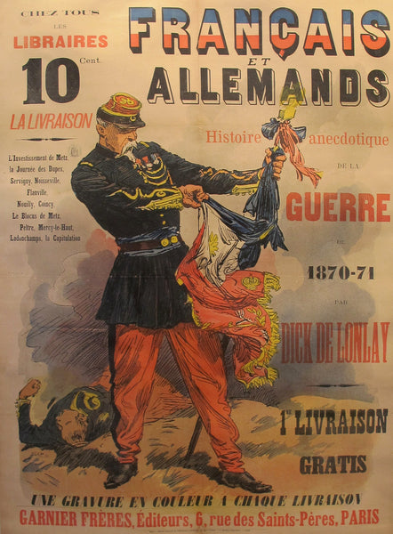1887 Original French poster of the Franco-Prussian War, Francais et Allemands - De Lonlay
