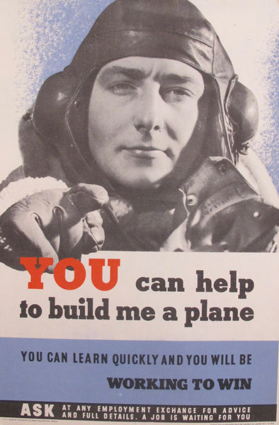 1940s Original British WWII Poster, You Can Help Me Build A Plane