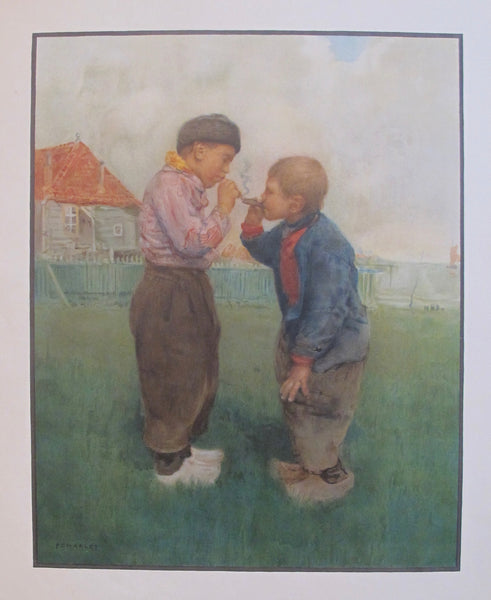1910s Original Dutch Poster, Two Young Smokers