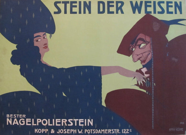 1911 Original German Poster for Nail Buffing Stones, Stein Der Weisen