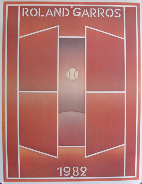 1982 Original Folon Poster, Roland Garros French Open Tennis Tournament (Artist Signed)