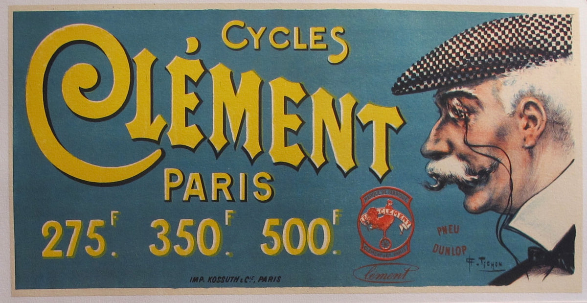1890 Original Vintage French Cycles Clement Tires Advertisement Pari L Affichiste