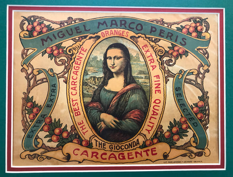 1920's Original Vintage Spanish Fruit Crate Label  - Miguel Marco Peris (Mona Lisa)