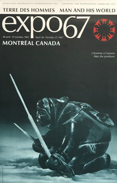 1967 Vintage Montreal Poster, Expo 67, Man the Producer, Inuit Sculptures