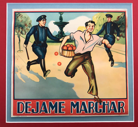 1930-40 Original Vintage Spanish Orange Advertisement, Dejame Marchar (Let me go!)