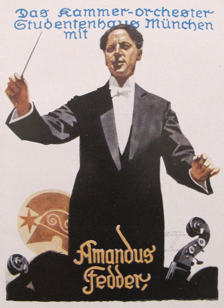1926 Original German Art Deco Poster, Amandus Fedder (Conductor)