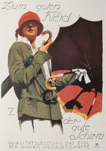 1927 Original German Art Deco Poster, Zum Guten Klein (Lady with umbrella)
