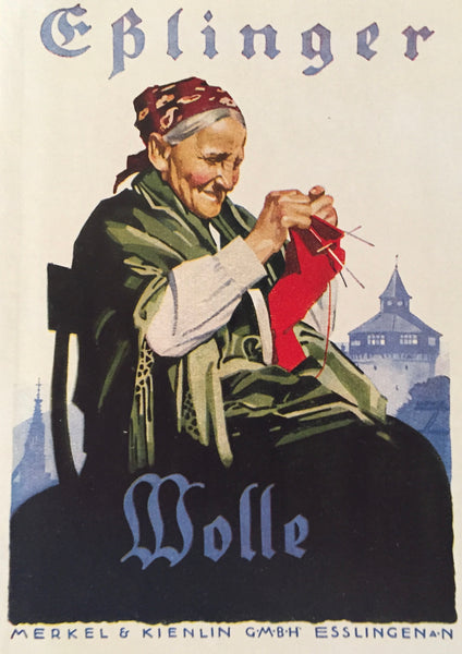 1927 German Mini Poster, Eplinger Wolle (Knitting)