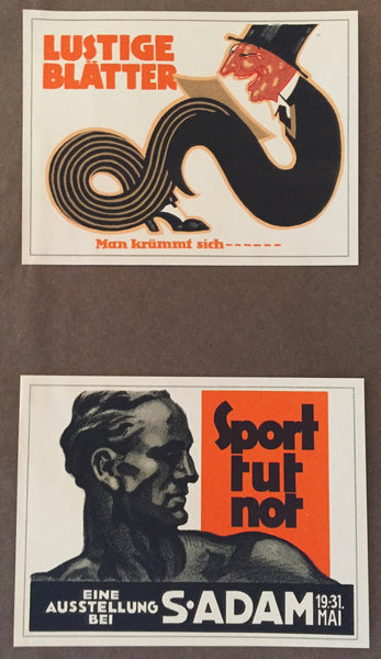 1927 Vintage German Mini Poster, Lustige Blätter + Sport tut not (set of 2)
