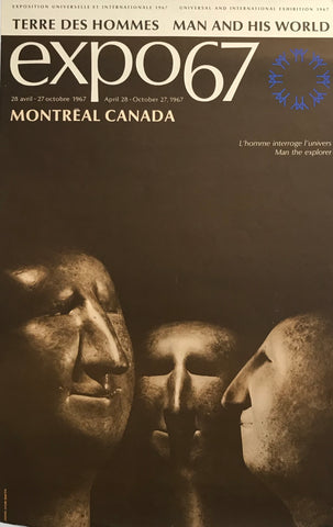 1967 Vintage Montreal Poster, Expo 67, Man the Explorer, Sculptures
