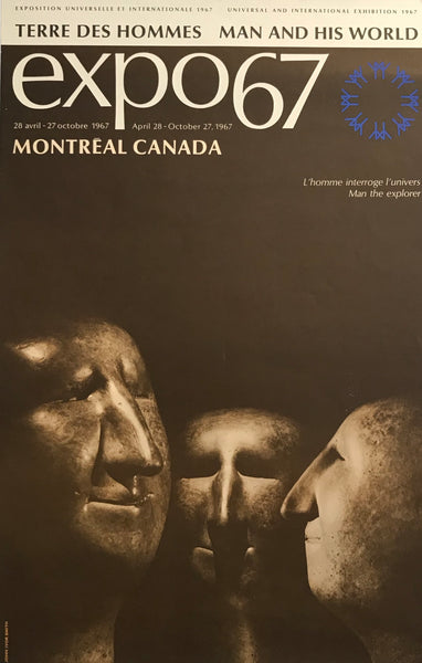 Framed 1967 Vintage Montreal Poster, Expo 67, Man the Explorer, Sculptures