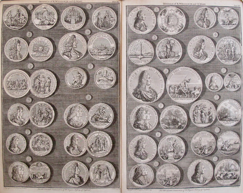 1745 Sheet of British Regal Medals King William III + Queen Mary, Set of 2