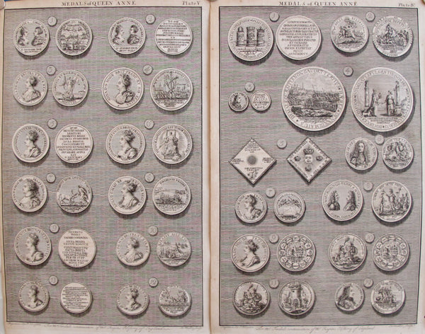 1745 Sheet of British Regal Medals of Queen Anne, Set of 2