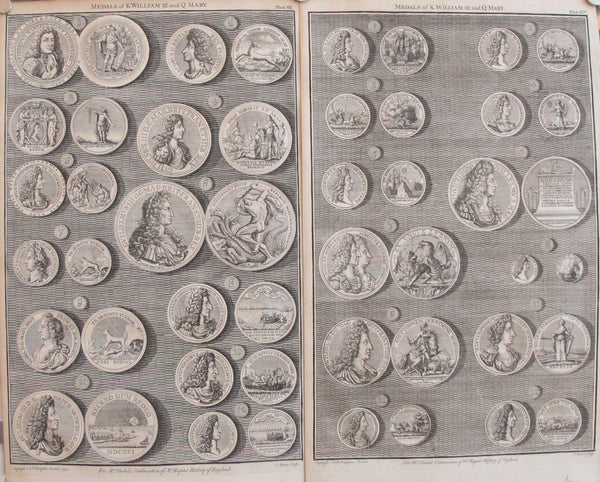 1745 Sheet of British Regal Medals of King William III + Queen Mary, Set of 2