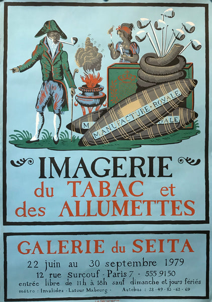 1979 Original French Exhibition Poster, Imagerie du Tabac et des Allumettes (Images of Tobacco and Matches)