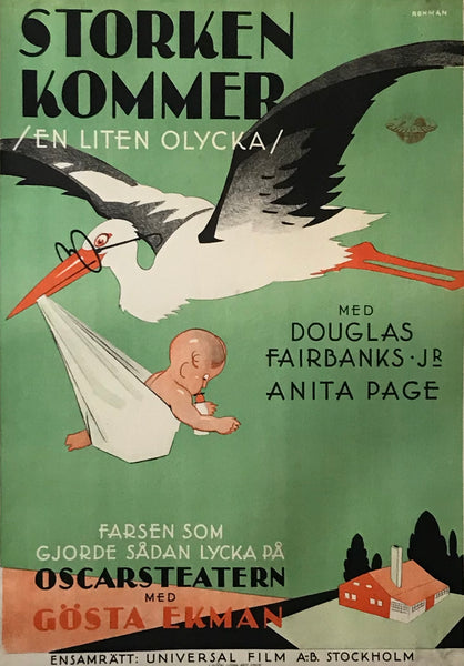 1930s Original Swedish Art Deco Movie Poster, Storken Kommer