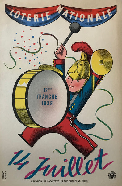"1939 French Art Deco Poster, Loterie Nationale Advertisement ""14 Juillet"""