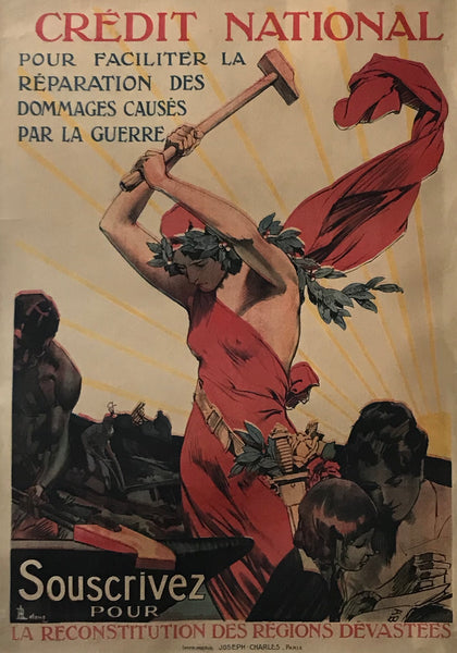 1920 French Vintage Propaganda Poster - Credit Nationale,  Marianne