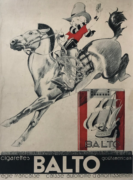 1930's French Advertisement Poster, Balto Cigarettes