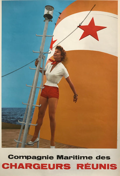 1960s Vintage French Poster, Compagnie Maritime des Chargeurs Réunis (Woman on Deck)